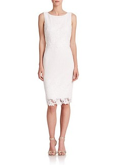 Badgley Mischka Lace-Appliqué Dress