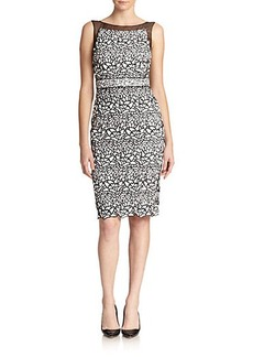Badgley Mischka Lace Boatneck Sheath