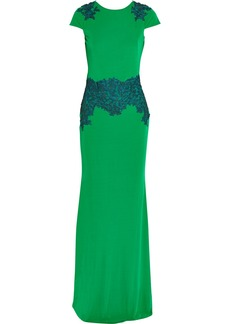Badgley Mischka Lace-embroidered jersey-crepe gown