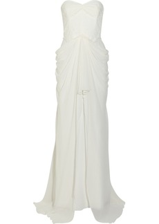 Badgley Mischka Lace-paneled silk-chiffon gown