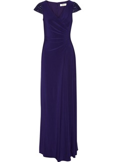 Badgley Mischka Lace-trimmed stretch-jersey gown