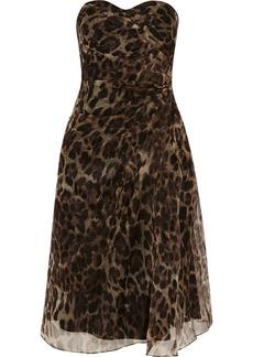 Badgley Mischka Leopard-print silk-organza dress