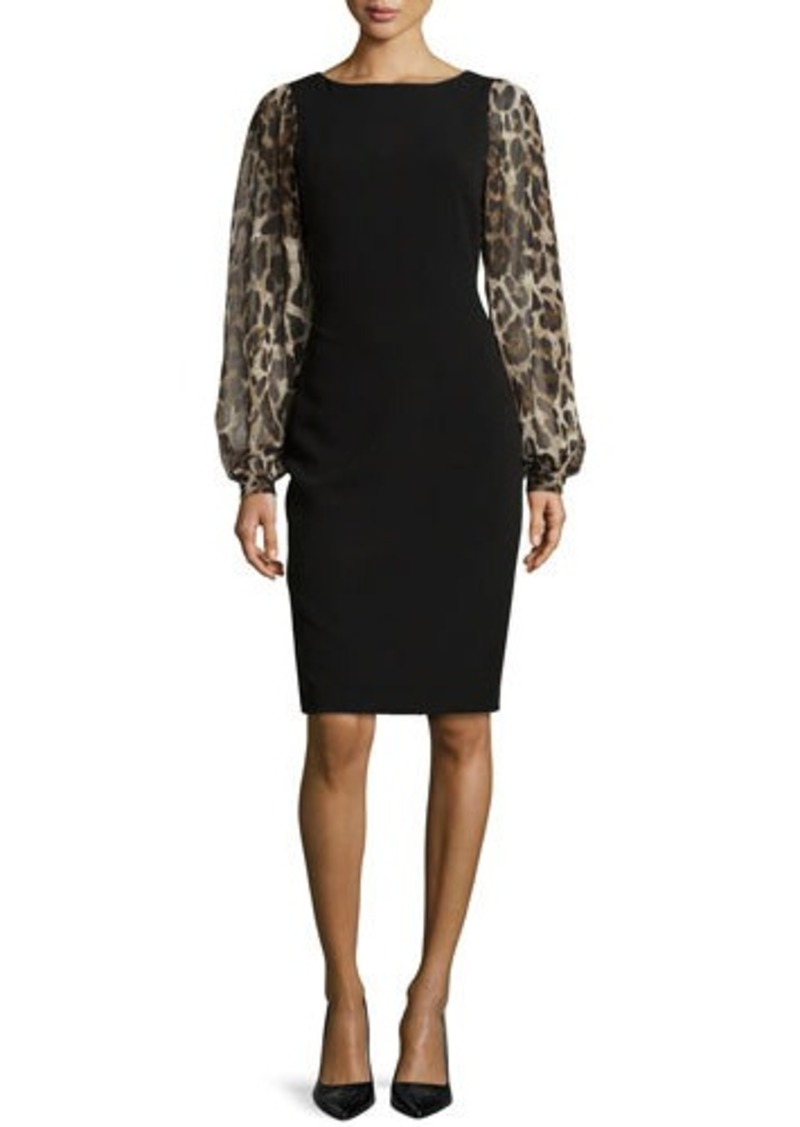... Dresses Sale (Women's) › Badgley Mischka Leopard-Sleeve Sheath Dress