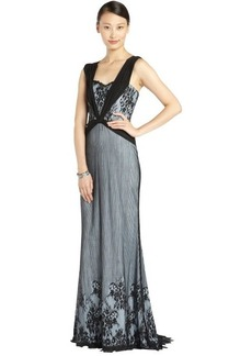 Badgley Mischka light blue and black plunging lace overlay gown