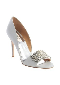 Badgley Mischka light grey 'Alessandra' crystal-encrusted heeled sandals