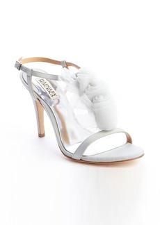 Badgley Mischka light grey satin crepe chiffon embellished 'Cissy' t-strap pumps