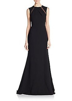 Badgley Mischka Mesh-Inset A-Line Gown