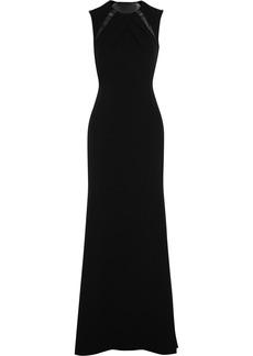 Badgley Mischka Mesh-paneled crepe gown