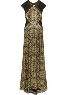 Badgley Mischka Mesh-paneled sequined gown
