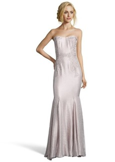 Badgley Mischka metallic blush crepe cord detail strapless flared gown