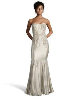 Badgley Mischka metallic gold crepe cord detail strapless flared gown