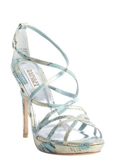 Badgley Mischka metallic gold leather snakeskin embossed strappy 'Adonis II' sandals