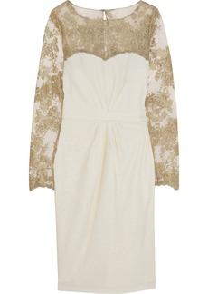 Badgley Mischka Metallic lace and textured-crepe dress