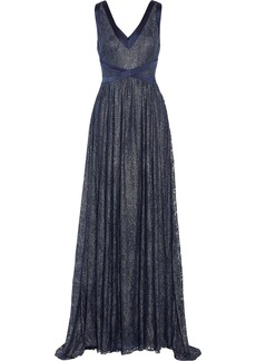 Badgley Mischka Metallic lace gown