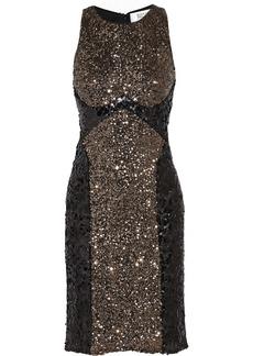 Badgley Mischka Metallic sequined tulle dress