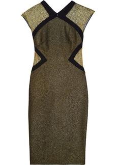 Badgley Mischka Metallic tulle-paneled stretch-crepe dress