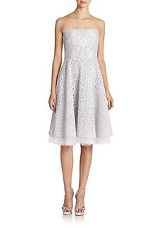Badgley Mischka Mixed Lace A-Line Strapless Dress