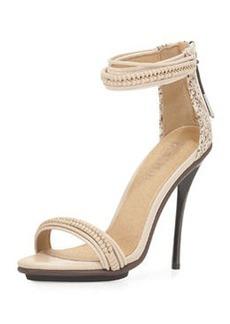 L.A.M.B. Mixed-Media High-Heel Sandal, Vanilla