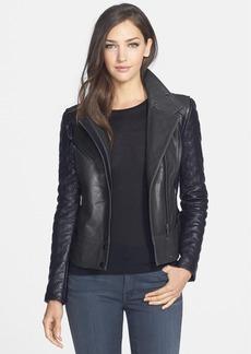Badgley Mischka 'Naomi' Quilt Sleeve Leather Moto Jacket