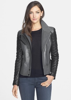Badgley Mischka 'Naomi' Quilt Sleeve Leather Moto Jacket