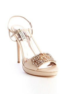 Badgley Mischka natural satin embellished t-strap 'Amara' high heel sandal