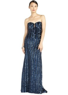 Badgley Mischka navy and black stretch sequined detail strapless illusion gown