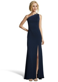 Badgley Mischka navy jersey lace up detail one-shoulder gown
