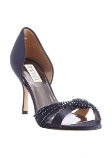 Badgley Mischka navy satin bead studded 'Ryanne' heel sandals