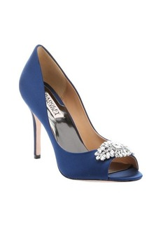 Badgley Mischka navy satin 'Lavender II' peep toe pumps