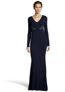 Badgley Mischka navy stretch jersey long sleeve drape neck gown with beading