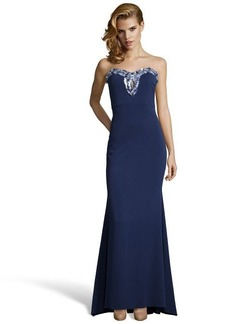 Badgley Mischka navy stretch woven beaded keyhole strapless gown