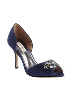 Badgley Mischka navy textile 'Salsa' crystal charm peep toe pumps