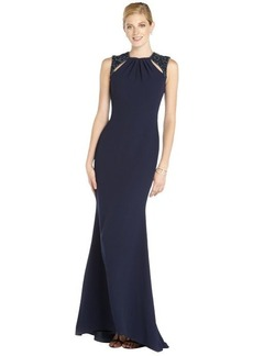 Badgley Mischka navy woven evening gown with beading and cutouts