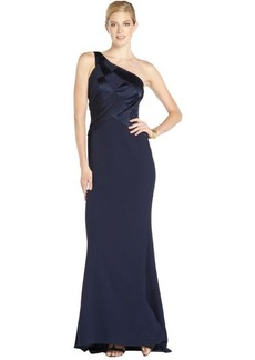 Badgley Mischka navy woven one shoulder gown with silk and satin details