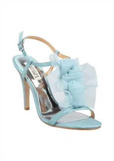 Badgley Mischka nile blue satin crepe chiffon embellished 'Cissy' t-strap pumps