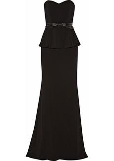 Badgley Mischka Odessa bow-embellished crepe pepelum gown