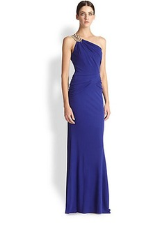 Badgley Mischka One-Shoulder Drape Gown