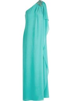 Badgley Mischka One-shoulder embellished silk-crepe gown