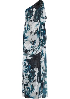 Badgley Mischka One-shoulder printed chiffon gown