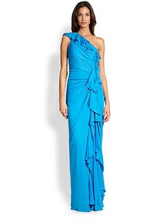 Badgley Mischka One-Shoulder Ruffle Gown