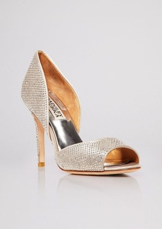 Badgley Mischka Open Toe D'Orsay Evening Pumps - Mitsey Rhinestone Stud High Heel