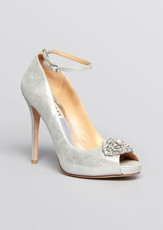 Badgley Mischka Open Toe Platform Evening Pumps - Finley II High Heel