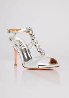 Badgley Mischka Open Toe T Strap Evening Sandals - Martina Jeweled High Heel