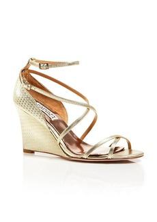 Badgley Mischka Open Toe Wedge Sandals - Melanie Embossed Ankle Strap