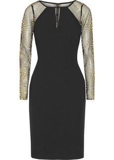 Badgley Mischka Paneled textured-crepe dress