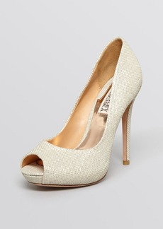Badgley Mischka Peep Toe Platform Evening Pumps - Drama High Heel