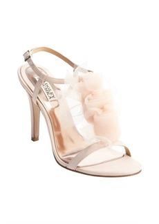 Badgley Mischka pink satin crepe chiffon embellished 'Cissy' t-strap pumps