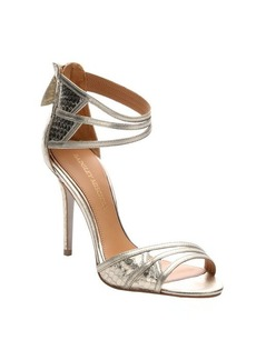 Badgley Mischka platino leather and snakeskin 'Felisha' ankle strap sandals