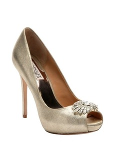 Badgley Mischka platino metallic suede 'Finn II' crystal detail pumps