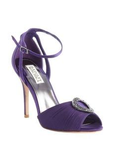 Badgley Mischka plum jewel embellished peep toe pumps